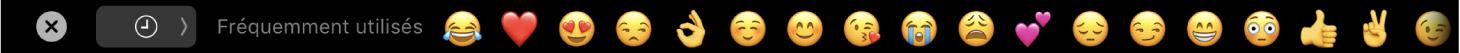 TouchBaraffichant le sélecteur d'Emoji.
