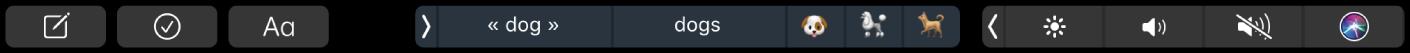 TouchBar deNotes affichant les boutons pour créer une note, ajouter une liste de pointage et modifier du texte. Il existe également des boutons permettant d'afficher des suggestions.