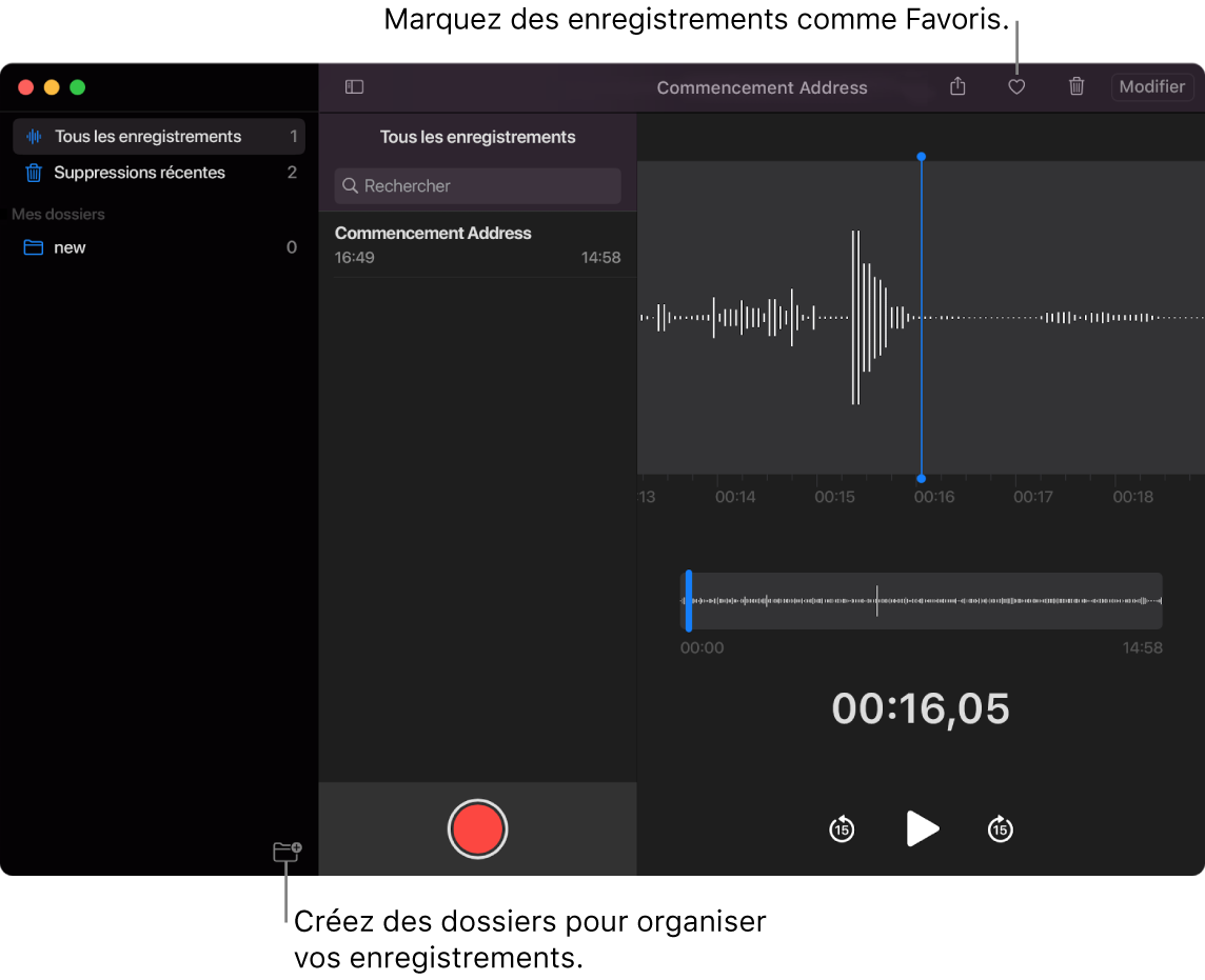 La fenêtre Dictaphone indiquant comment créer de nouveaux dossiers ou marquer un enregistrement comme favori.