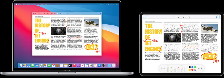Un MacBookPro et un iPad côte à côte. Les deux écrans affichent un article couvert de modifications manuscrites en rouge, telles que des phrases barrées, des flèches et des mots ajoutés. L'iPad montre également des commandes d'annotation au bas de l'écran.