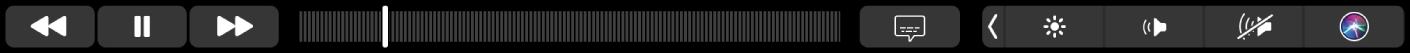 ה-Touch Bar של היישום TV עם כפתורים להרצה לאחור, להפעלה/השהיה, להרצה קדימה, ל-Extras, לכתוביות ולתפריט ועם פס גלילה לניווט.