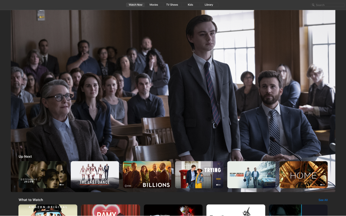 חלון של היישום AppleTV המציג את תצוגת ״לצפייה כעת״.