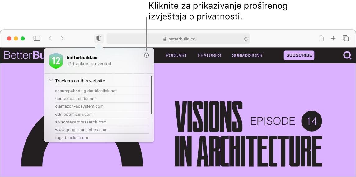 Prozor aplikacije Safari prikazuje postavke web stranica uključujući Koristi Čitač kad je dostupan, Omogući blokade sadržaja, Zumiranje stranice, Auto reprodukcija i Skočni prozori.
