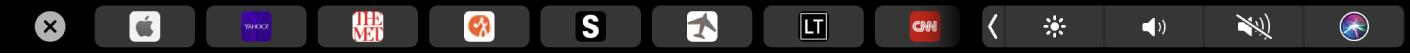 Safari TouchBar s prikazanim omiljenim stranicama.