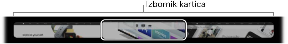 Izbornik kartica u Safari TouchBaru. Prikazuje mali pregled svake otvorene kartice.