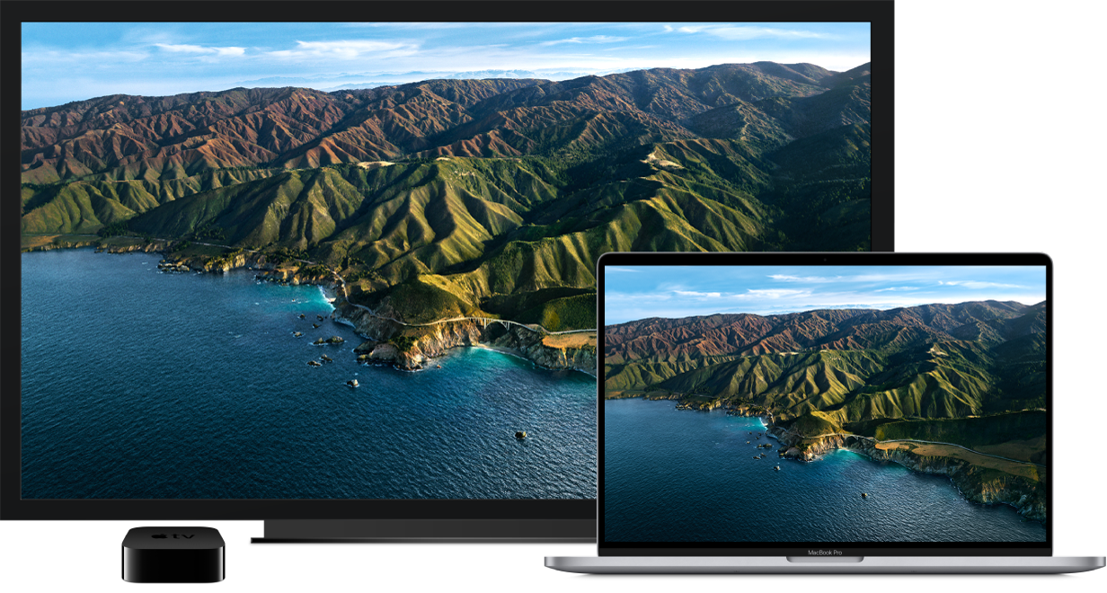 MacBookPro con i contenuti duplicati su una grande TV HD tramite AppleTV.