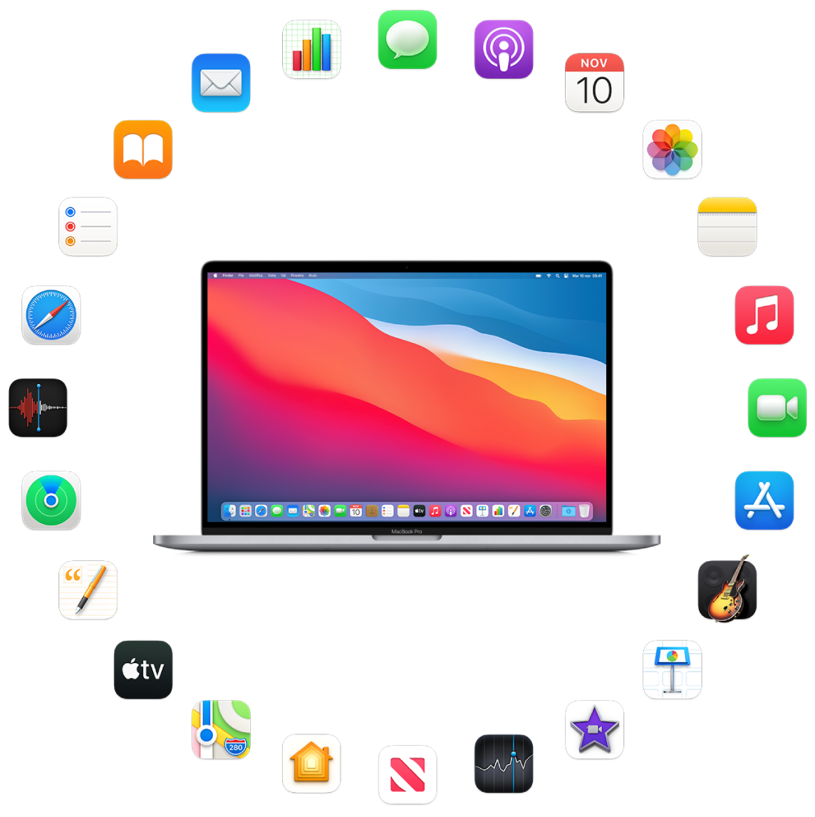 MacBook Pro circondato dalle icone delle app integrate, descritte nelle sezioni successive.