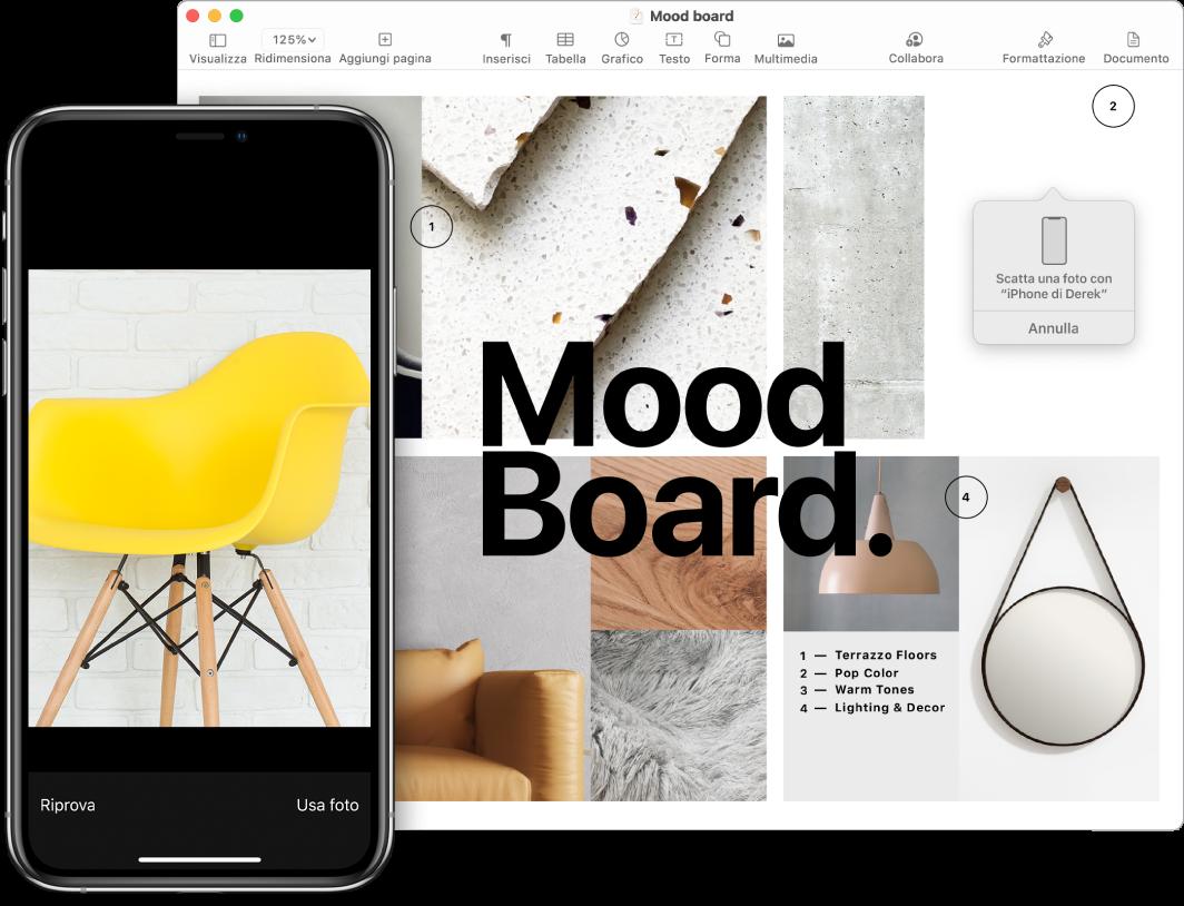 iPhone che mostra una foto e lo schermo di un Mac che mostra un documento di Pages con un riquadro in cui verrà posizionata la foto.