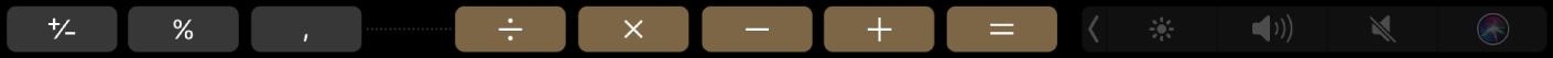 De TouchBar voor Rekenmachine in de bewerkingsmodus.