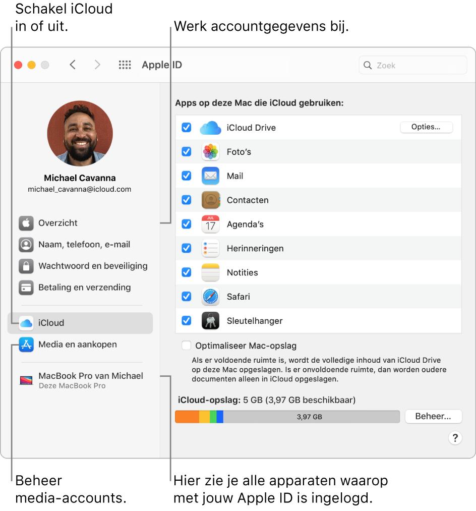 Het paneel 'AppleID' in Systeemvoorkeuren. Klik op een onderdeel in de navigatiekolom om je accountgegevens bij te werken, iCloud in of uit te schakelen, media-accounts te beheren of alle apparaten te zien waarop je met je AppleID bent ingelogd.