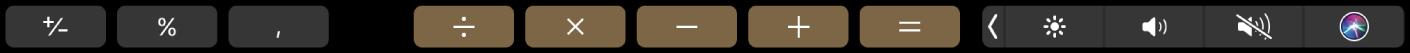 De TouchBar voor Rekenmachine.