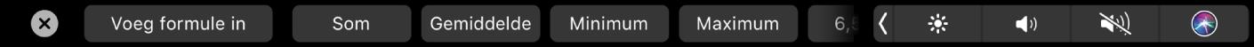 De TouchBar voor Numbers met de formuleknoppen. Er zijn knoppen voor som, gemiddelde, minimum, maximum en aantal.