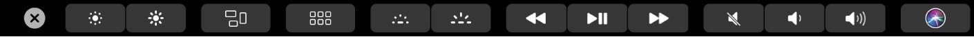 De TouchBar met daarin de uitgevouwen Control Strip met knoppen voor de helderheid van het scherm, Mission Control, Launchpad, de helderheid van het toetsenbord, mediaregelaars, volume en Siri.