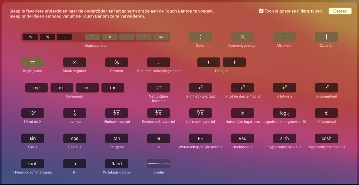 De onderdelen in de TouchBar voor Rekenmachine die je kunt aanpassen door ze naar de TouchBar te slepen.