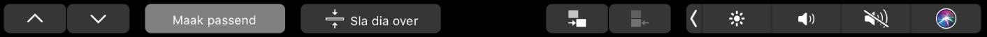 De TouchBar voor Keynote met pijltoetsen, knoppen voor passend maken, dia overslaan, dia inspringen en dia negatief inspringen.