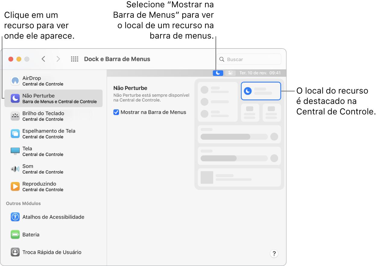 """Janela das preferências """"Dock e Barra de Menus""""."""