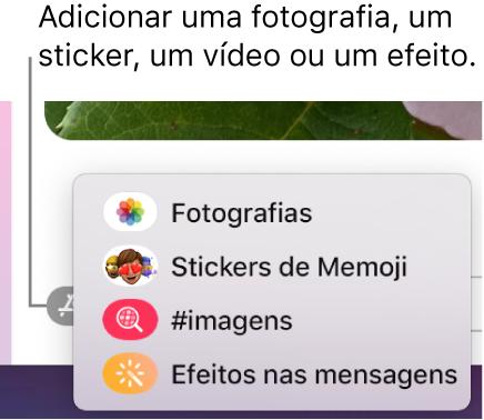 O menu Aplicações com opções para mostrar fotografias, stickers de Memoji, GIF e efeitos de mensagens.
