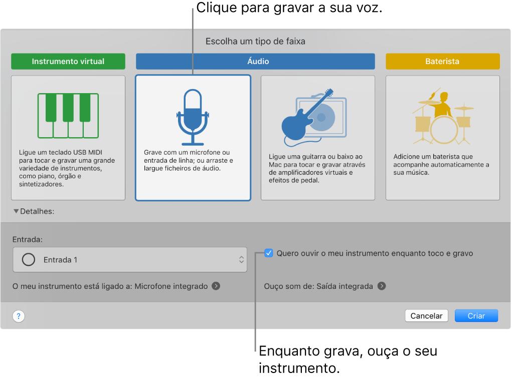 O painel de instrumento do GarageBand a mostrar onde clicar para gravar uma voz e como ouvir a sua própria gravação.