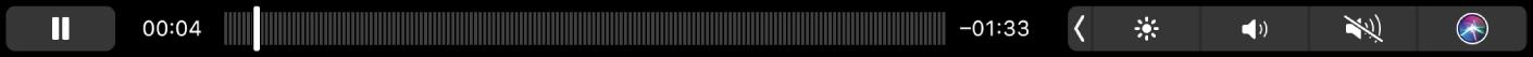A Touch Bar da aplicação Podcasts com um podcast a ser reproduzido.