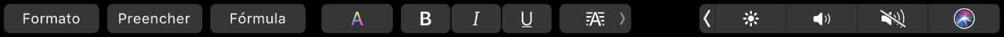 A TouchBar do Numbers com os botões de formato, preenchimento automático e fórmula. Há também botões de formatação do texto com cor, negrito, itálico, sublinhado e alinhamento.