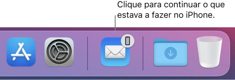O ícone de Handoff visível na Dock.