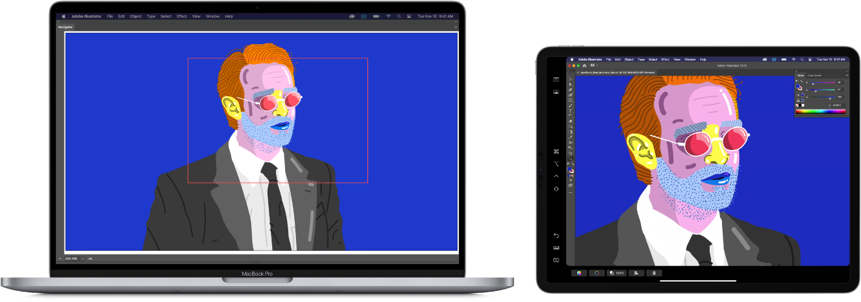 Um MacBookPro e um iPad lado a lado. O MacBookPro mostra uma imagem artística na janela do navegador do Illustrator. O iPad mostra a mesma imagem artística na janela do documento Illustrator, rodeada de barras de ferramentas.