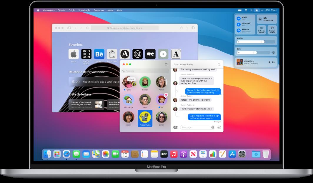Uma secretária do MacBook Pro a mostrar a central de controlo e várias aplicações abertas.