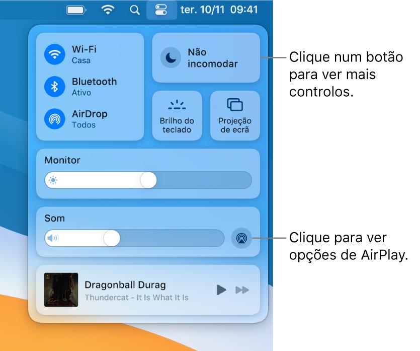 Vista ampliada da central de controlo no Mac com uma chamada para o botão Monitor.