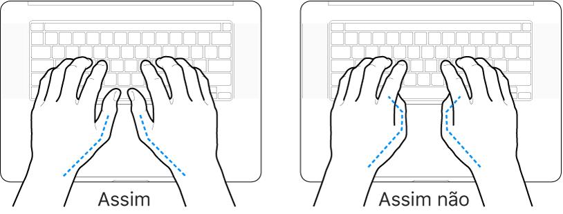As mãos posicionadas sobre um teclado a mostrar a colocação correta e incorreta dos polegares.