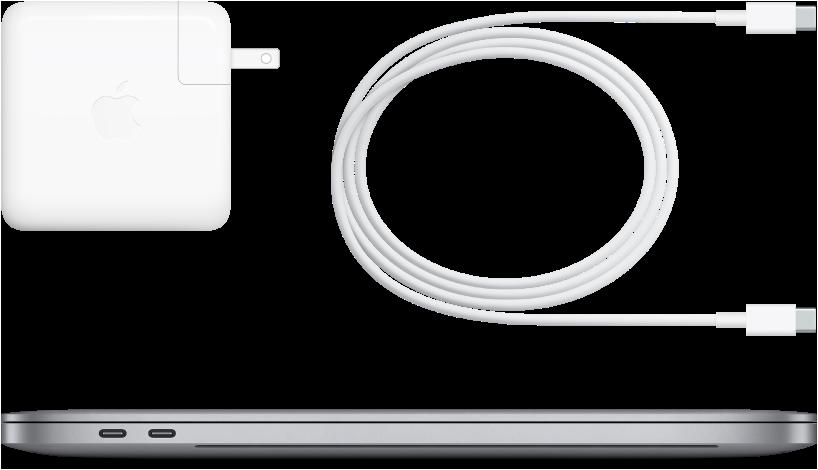 Vista lateral do MacBook Pro de 16 polegadas com os respetivos acessórios.