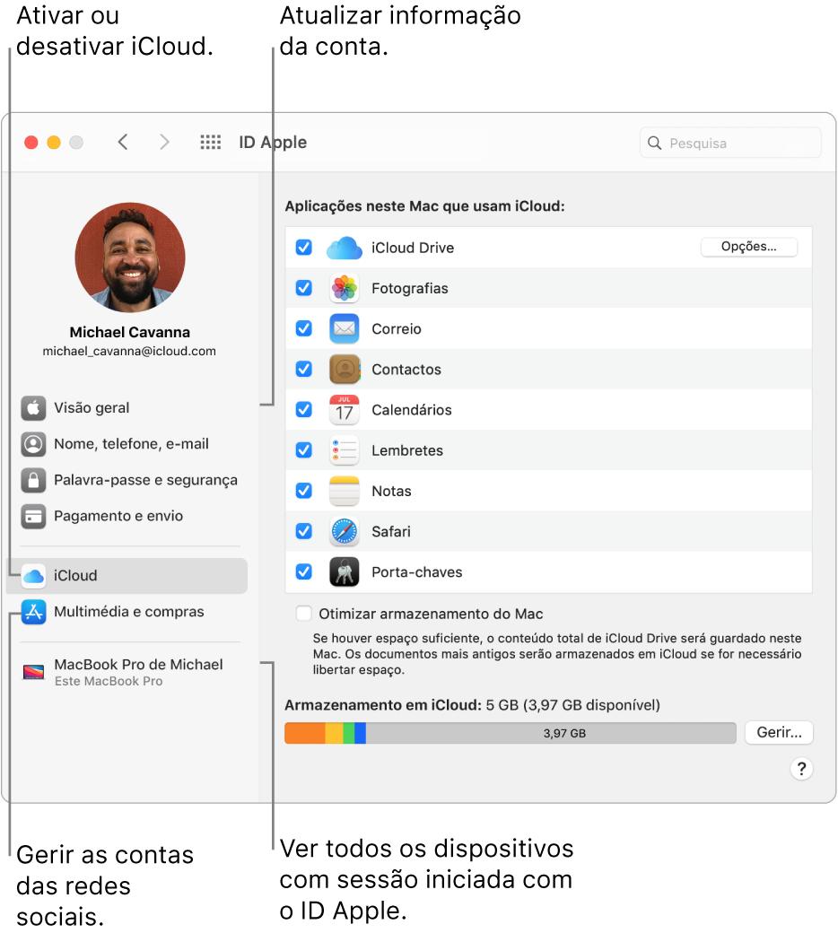 O painel IDApple nas Preferências do Sistema. Clique num elemento na barra lateral para atualizar as informações da conta, ativar ou desativar iCloud, gerir contas multimédia ou ver todos os dispositivos com sessão iniciada com o seu IDApple.