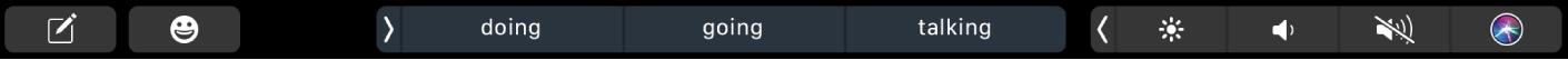 A TouchBar da aplicação Mensagens com os botões para compor uma mensagem e introduzir emoji. Há também botões a mostrar sugestões de escrita.