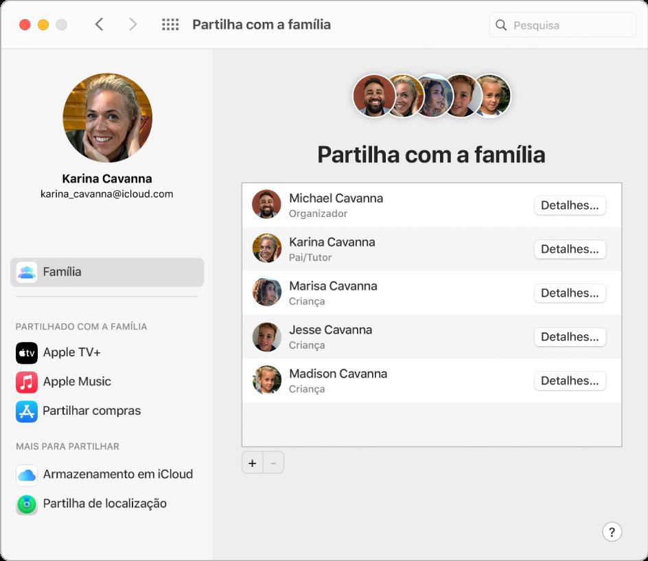 Uma janela do Safari a mostrar as definições de Partilha com a família em iCloud.com.