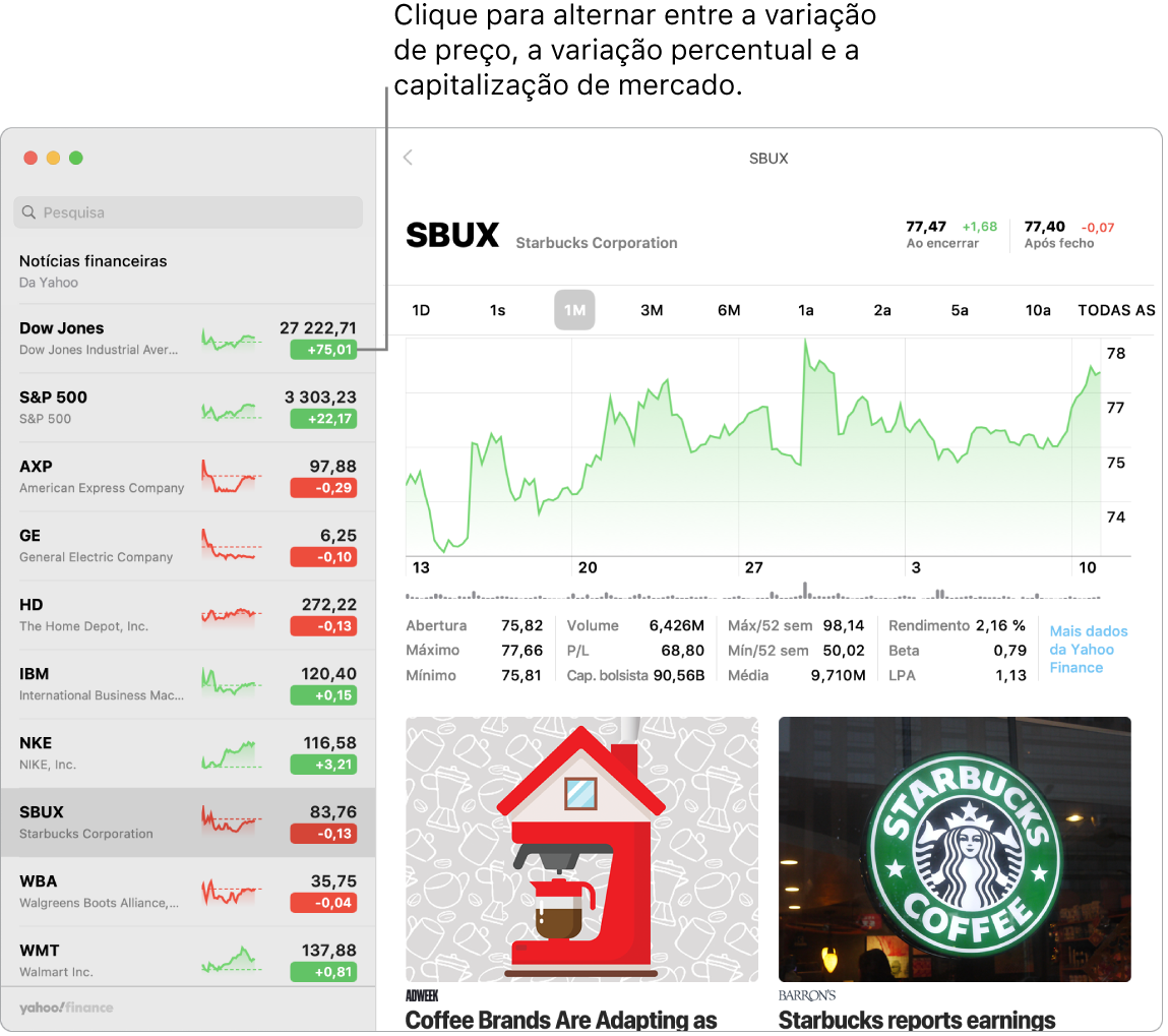 Um ecrã da aplicação Bolsa a mostrar informação e artigos sobre a ação selecionada.