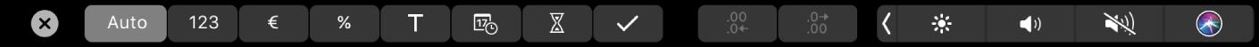 A TouchBar do Numbers a mostrar os botões de formato. Estes incluem: moeda, percentagem, números, texto, data, duração e lista.