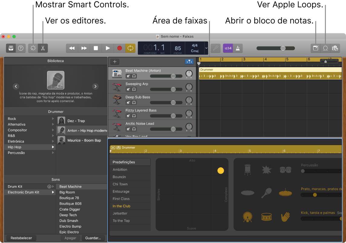 Uma janela do GarageBand a mostrar os botões para aceder a Smart Controls, Editores, Notas e Apple Loops. Também mostra o ecrã de faixas.