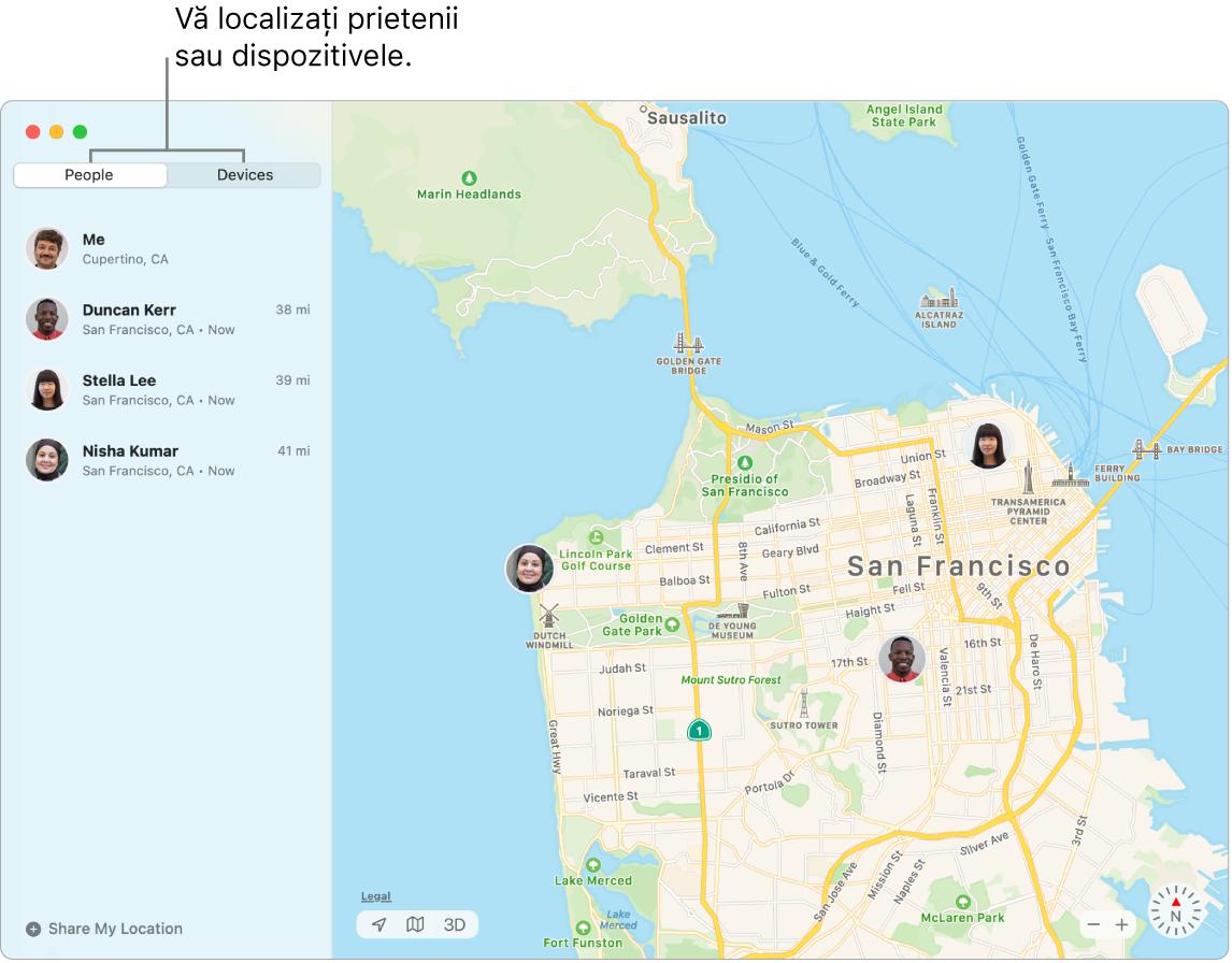 Vă puteți localiza prietenii sau dispozitivele făcând clic pe filele Persoane sau Dispozitive. Captura de ecran afișează fila Prieteni selectată în stânga și o hartă a orașului SanFrancisco în dreapta, cu localizările pentru trei prieteni.