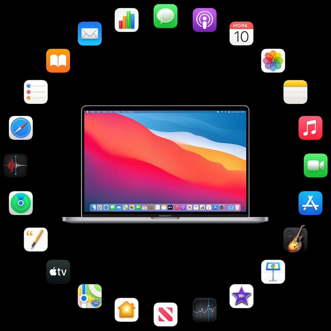 MacBookPro и значки установленных на нем приложений. Они описаны в следующих разделах.