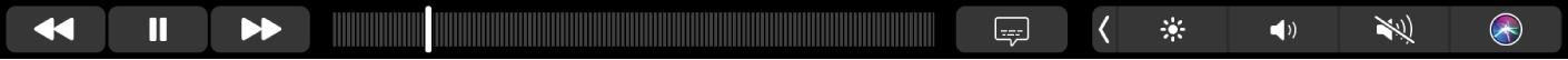Панель TouchBar дляприложения Apple TV. Показаны кнопки перемотки, воспроизведения/паузы, субтитров, меню иExtras, атакже шкала воспроизведения.