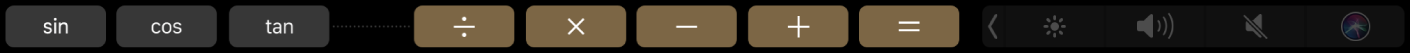 Touch Barpre Kalkulačku po vykonaní úprav so zobrazenými funkciami, ktoré ste pridali.