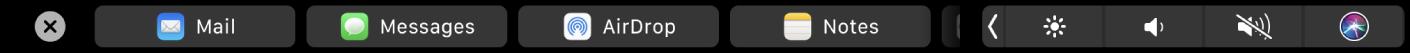 Paylaşma seçeneklerini gösterenFinder Touch Bar'ı.