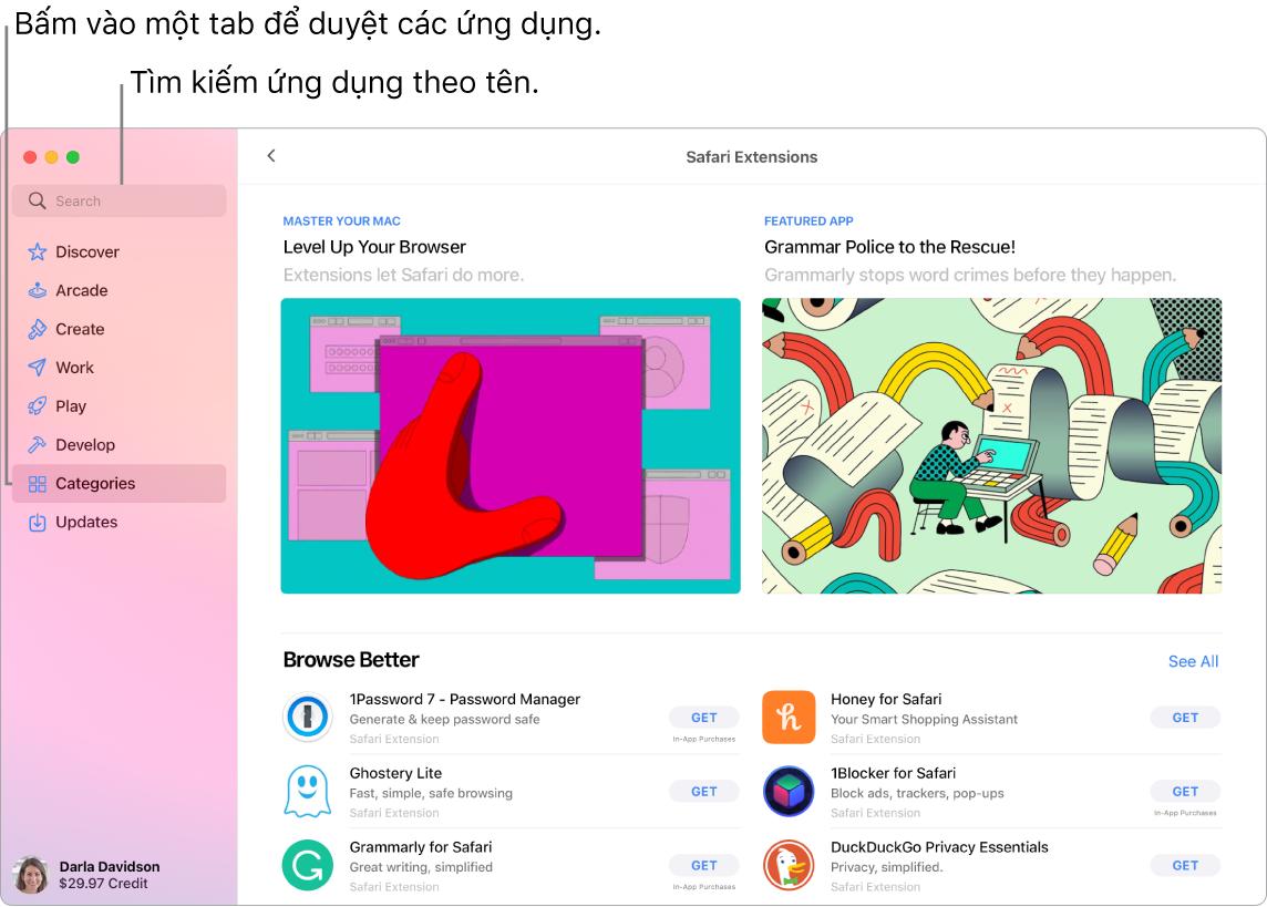 Cửa sổ App Store đang hiển thị trường tìm kiếm và một trang Phần mở rộng của Safari.