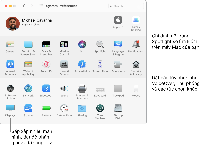 Cửa sổ Tùy chọn hệ thống.