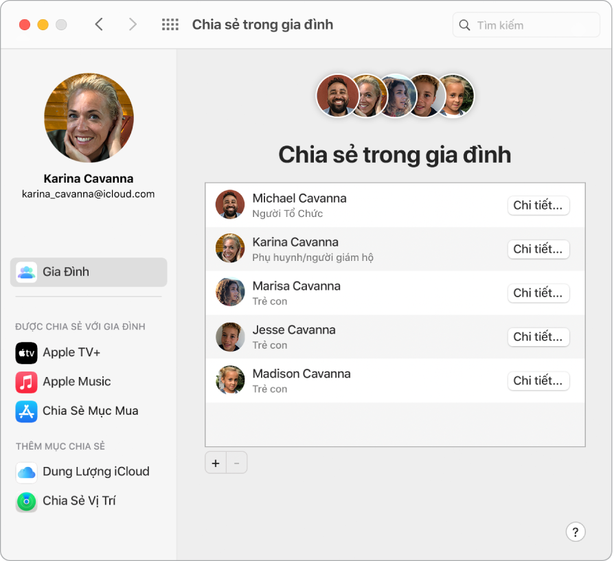 Một cửa sổ Safari đang hiển thị cài đặt Chia sẻ trong gia đình trên iCloud.com.