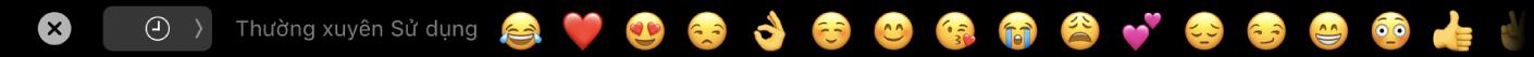 TouchBar Tin nhắn đang hiển thị các tùy chọn Biểu tượng thường sử dụng và nút để chọn các danh mục Biểu tượng khác nhau.