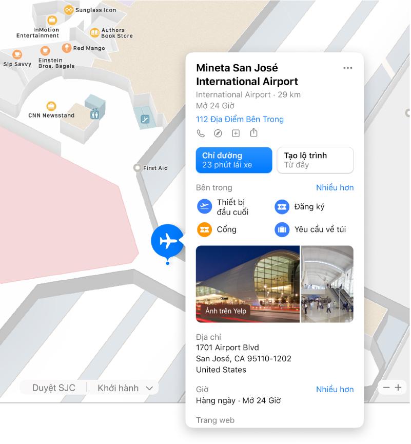 Một bản đồ khu vực bên trong của một sân bay, cùng với thông tin về sân bay, bao gồm chỉ đường, nhà hàng, cửa hàng, v.v.