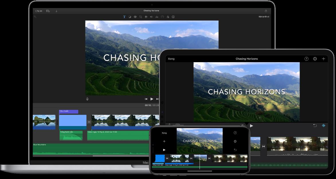 Cùng một nội dung được hiển thị trên một MacBook Pro, một iPad và một iPhone.