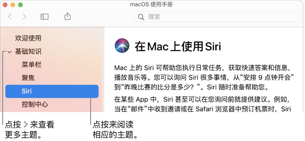 """""""帮助显示程序"""",显示如何查看边栏中列出的主题以及如何显示主题的内容。"""