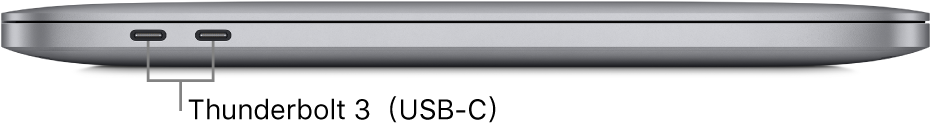 配備 Apple M1 晶片的 MacBookPro 左側圖,顯示 Thunderbolt3(USB-C)埠的說明框。