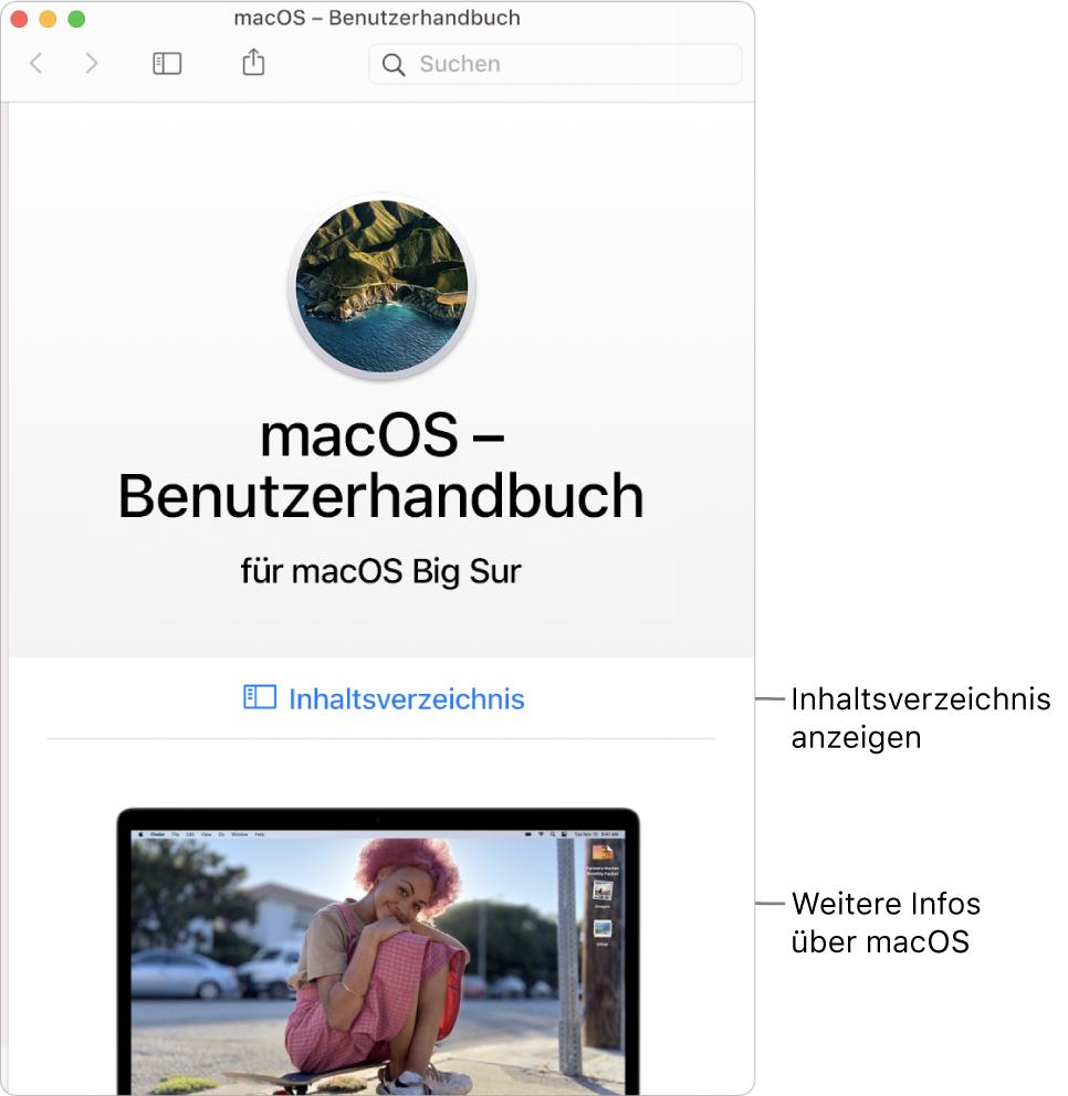 Die Startseite des macOS–Benutzerhandbuchs mit dem Link zum Inhaltsverzeichnis.